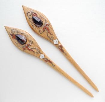 авторские деревянные шпильки для волос